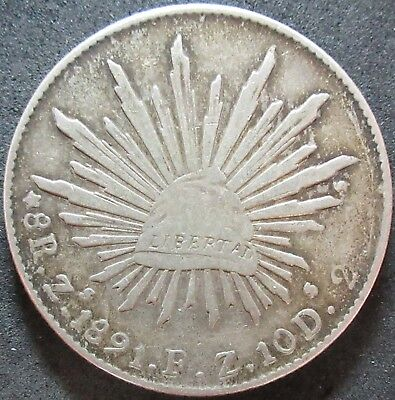 1891 Z S Mexico .7859 Ounce Silver Eight Real Coin