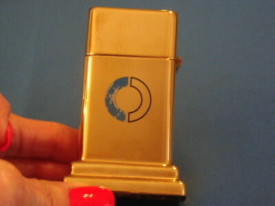 Vintage ZIPPO USA Barcroft Gold Tone TABLE LIGHTER Advertising Campbell Centre