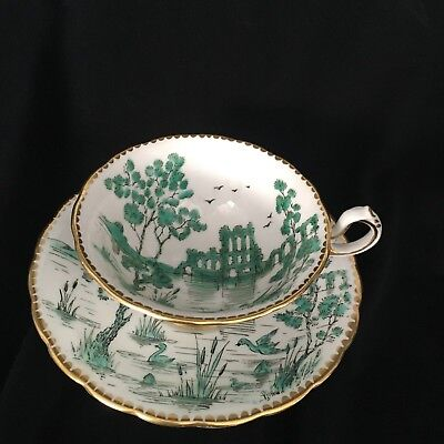 New Chelsea Staffs England Asian Design Hand Painted Green Cup and Saucer