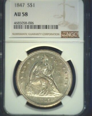 1847 U.S. Seated Liberty Silver Dollar NGC AU58 Nice Details