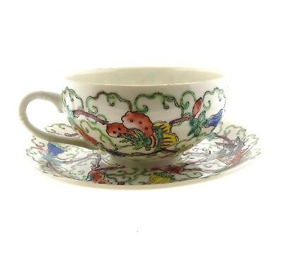 Antique Chinese Porcelain Butterfly Pattern Tea cup Saucer Husky Xmas 1975