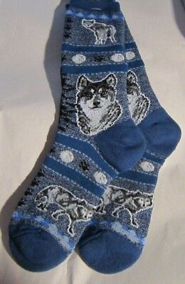 Adult Cushioned Socks Wildlife WOLF MOON Blue size Medium 6-11