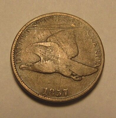 1857 Flying Eagle Cent Penny - Very Good to Fine Details - 32SA