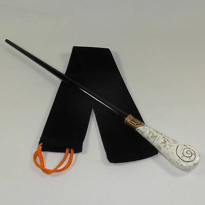 """15"""" Hand Turned Carved Gold Queenie Mahogany Wood Magic Wand Witch Wicca Wizard"""