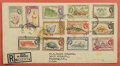 1953 Fdc British Honduras Qeii Set To $5 #144-55 Registered