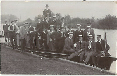 Social History River Cruise Men on Boat Possibly Norfolk Broads? RPPC PC