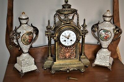 French BERNOUX White Onyx and Bronze Mantle Gilded Clock 19th Cent
