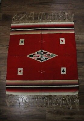 Vintage Early 20thC Mexican Red Saltillo Woven Wool Fringe Blanket Suit of Cards