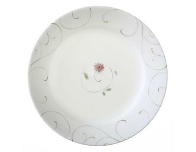 1 Corelle ENCHANTED Wide Rim 8 1/2 LUNCH SALAD PLATE Pink Floral Brown Scrolls
