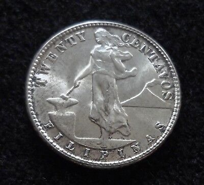 Philippines 1944-D/S ? 20 Centavos Silver Coin Philippines Coins