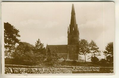 Early Real Photo Post Card, St. Bartholomew's Church, Butterton, Manifold Valley