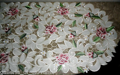 "Dresser Scarf Royal Rose Lace Table Runner  44""  Doily  Floral  Flower"