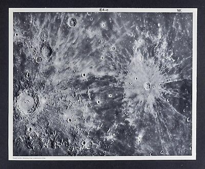 1960 Lunar Atlas Moon Map Photo Kepler E4-c Surface Craters - Wilson Observatory