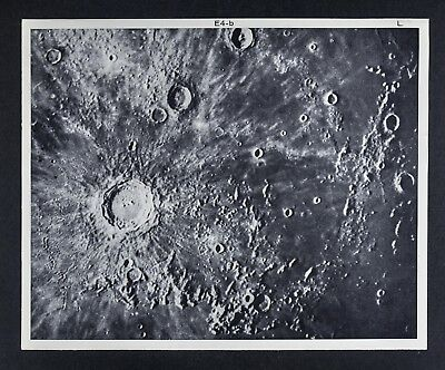 1960 Lunar Atlas Moon Map Photo Kepler E4-b - Surface Craters - Lick Observatory