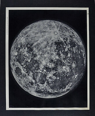 1960 Photographic Lunar Atlas Moon Photo No. 1 - Full Moon - Craters Map Apollo