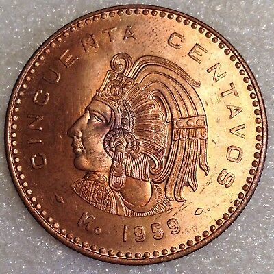 Mexico 50 Centavos 1959 Bronze High Grade Large Coin!   #4444