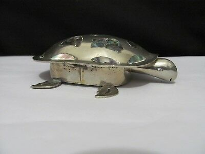 Vintage Alpaca Silver Hinged Turtle Trinket Jewelry box Abalone accents