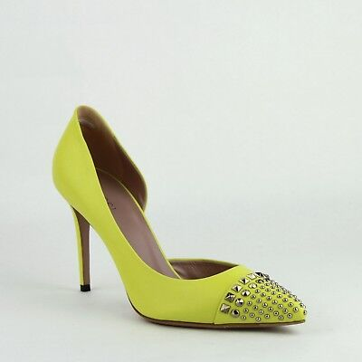 a036902efe5  695 Gucci Neon Yellow Leather Heel with Silver Studs 370491 7209