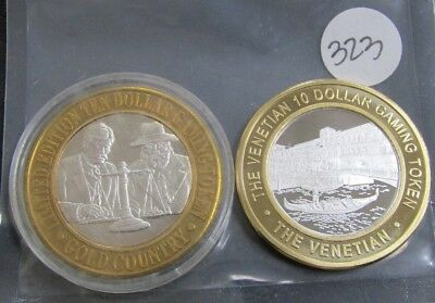 2- Limited Edition Ten Dollar Gaming Tokens .999 Fine Silver