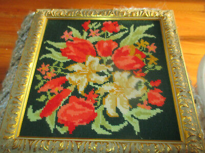 Vintage Embroidered Tapestry Flower Wall Hanging Picture Carved Gold Frame