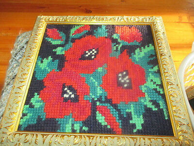 1 Vintage Embroidered Tapestry Flower Wall Hanging Picture Carved Gold Frame