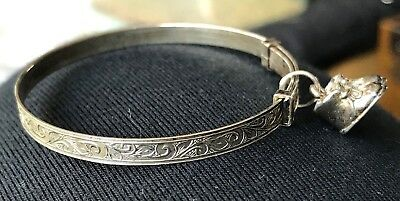 Vintage Baby Bangle With Booties Charm Silver Expandable