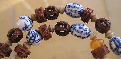 Interesting Vintage Chinese Painted Bead & Carved Bead Necklace, Agate, Amber
