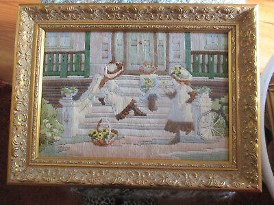 Vintage Embroidered Tapestry 3 Little Girls Playing Picture Carved Gold Frame