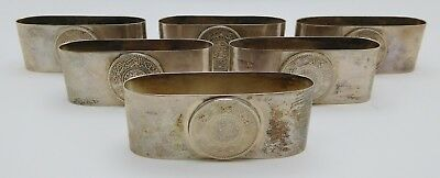 6 ~ FOREIGN Sterling Silver Napkin Rings