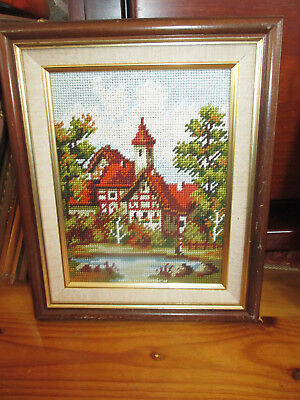 Vintage Embroidered Tapestry Country Cottage Wall Hanging Picture Wooden Frame