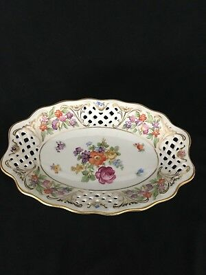 """Schumann Arzberg Germany Dresden Line Pierced Reticulated 8"""" oval Tray"""