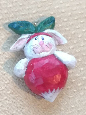 Eddie Walker White Bunny Rabbit Dressed as Red Strawberry Ornament Easter Signed