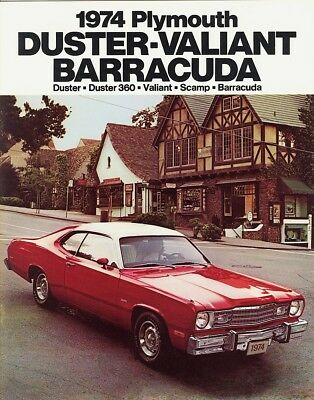 1974 Plymouth Duster Gold Duster 360 Valiant Scamp  Barracuda Sales Brochure