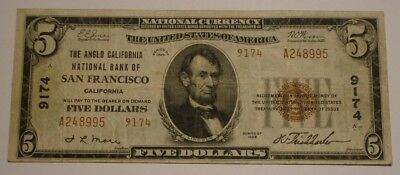 1929 $5 Five Dollar NATIONAL CURRENCY Banknote ANGLO CALIFORNIA San Francisco