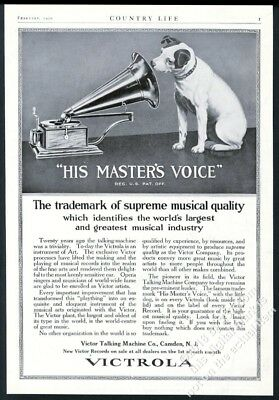 1920 Nipper dog looking into phonograph horn Victor Victrola vintage print ad