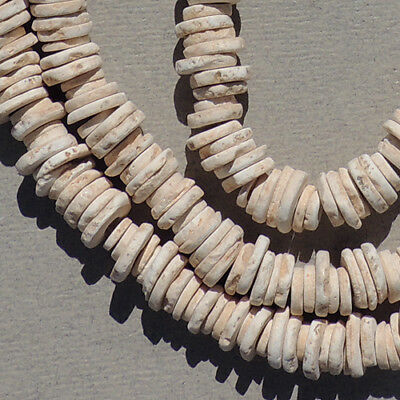 a 36 inch strand of ancient neolithic ostrich eggshell beads mali sub sahara #86