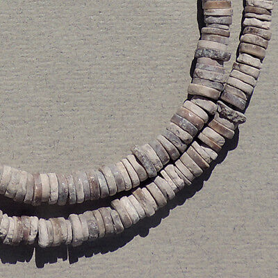 a strand of small ancient neolithic ostrich eggshell beads mali sub sahara #84