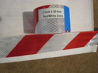 """WHITE RED Reflective Diagonal Stripe  Conspicuity Tape 2"""" x 25'"""