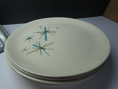 "Vintage Salem China Hopscotch Atomic Starburst 10"" Plates  Mid Century"