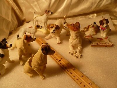Jack Russell Terrier Figurines Resin Collection 10 Items Used Dogs Bundle China