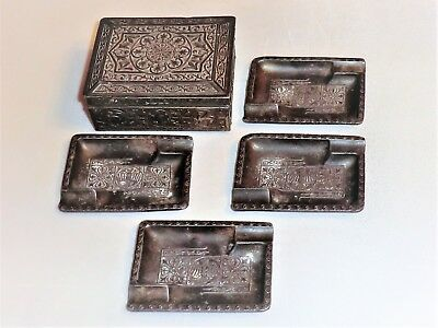 Antique Japanese Decorated Pewter Box Containing 4 Piece Ashtray Set Wood Inlay