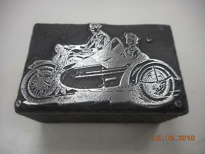 Printing Letterpress Printers Block, Motorcycle With Side Car,Printers Cut
