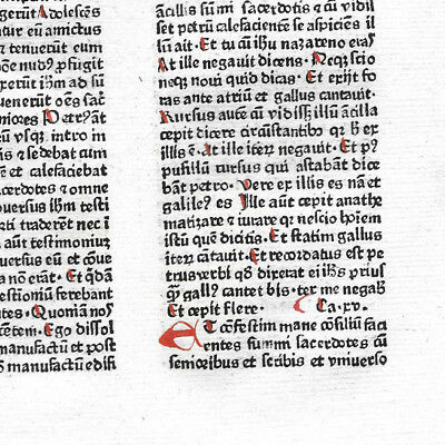 1 Leaf 1480 Incunabula Latin Medieval Bible 1 Red Initial + NT Textual Variant