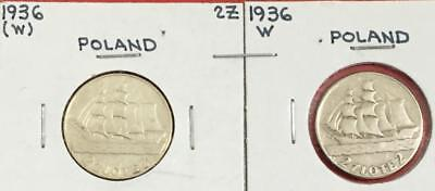 1936 Poland 2 Zloty SILVER Coins Set of 2! Old POlish Coins!