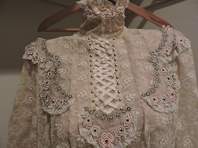 antique Edwardian lace Crochet and silk blouse         The  Real Deal !