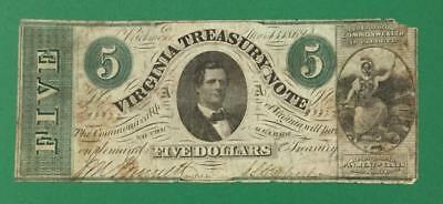 """1862 $5 US Treasury """"LARGE SIZE"""" Currency! Old US Paper money Currency"""
