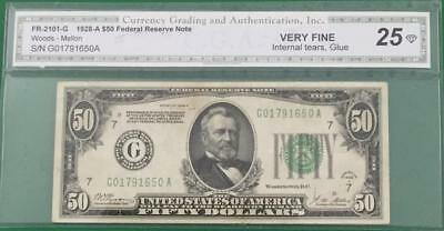 """1928A $50 """"Redeemable in GOLD"""" """"BIG G"""" Chicago Choice VF Details! Old US Currenc"""