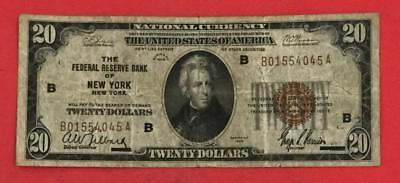 1929 $20 Brown Seal National Currency New YOrk VG! Old US Currency X045