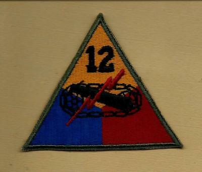 "Original Ww2 Us Army 12Th Armored ""hellcat"" Division Od Border Patch"