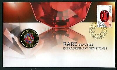 2017 Rare Beauties! Extraordinary Gemstones FDC/PNC With Coloured $1 Coin